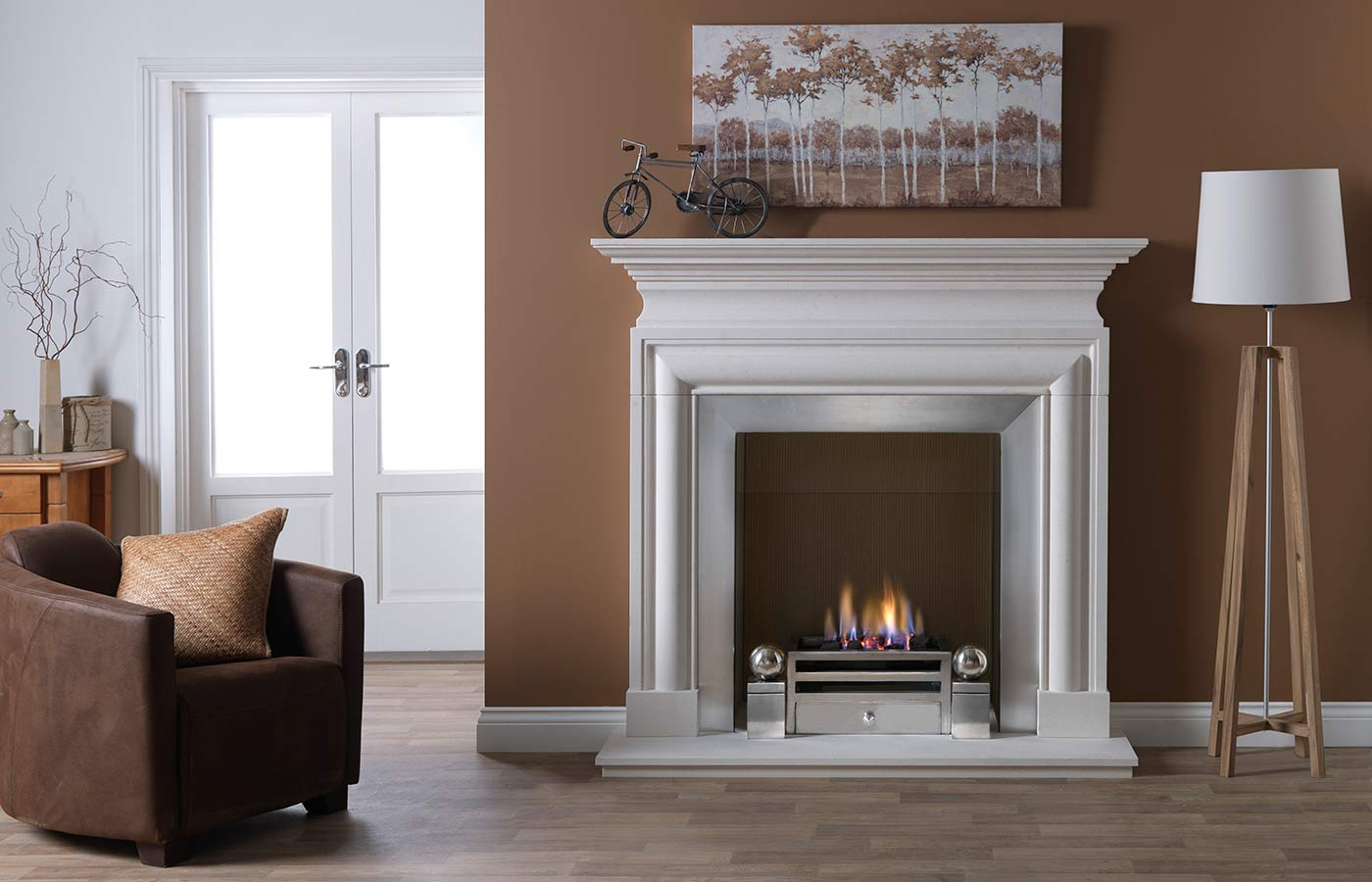 Avellino Agean Limestone with Elan Gas Fire Basket