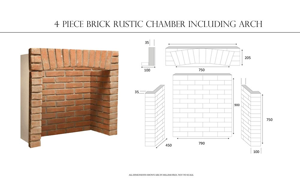 4-Piece Rustic Brick Chamber Including Arch