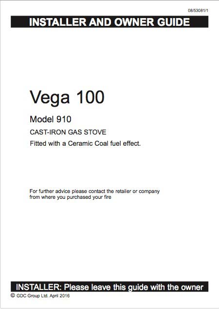 Vega 100 Gas Stove Manual