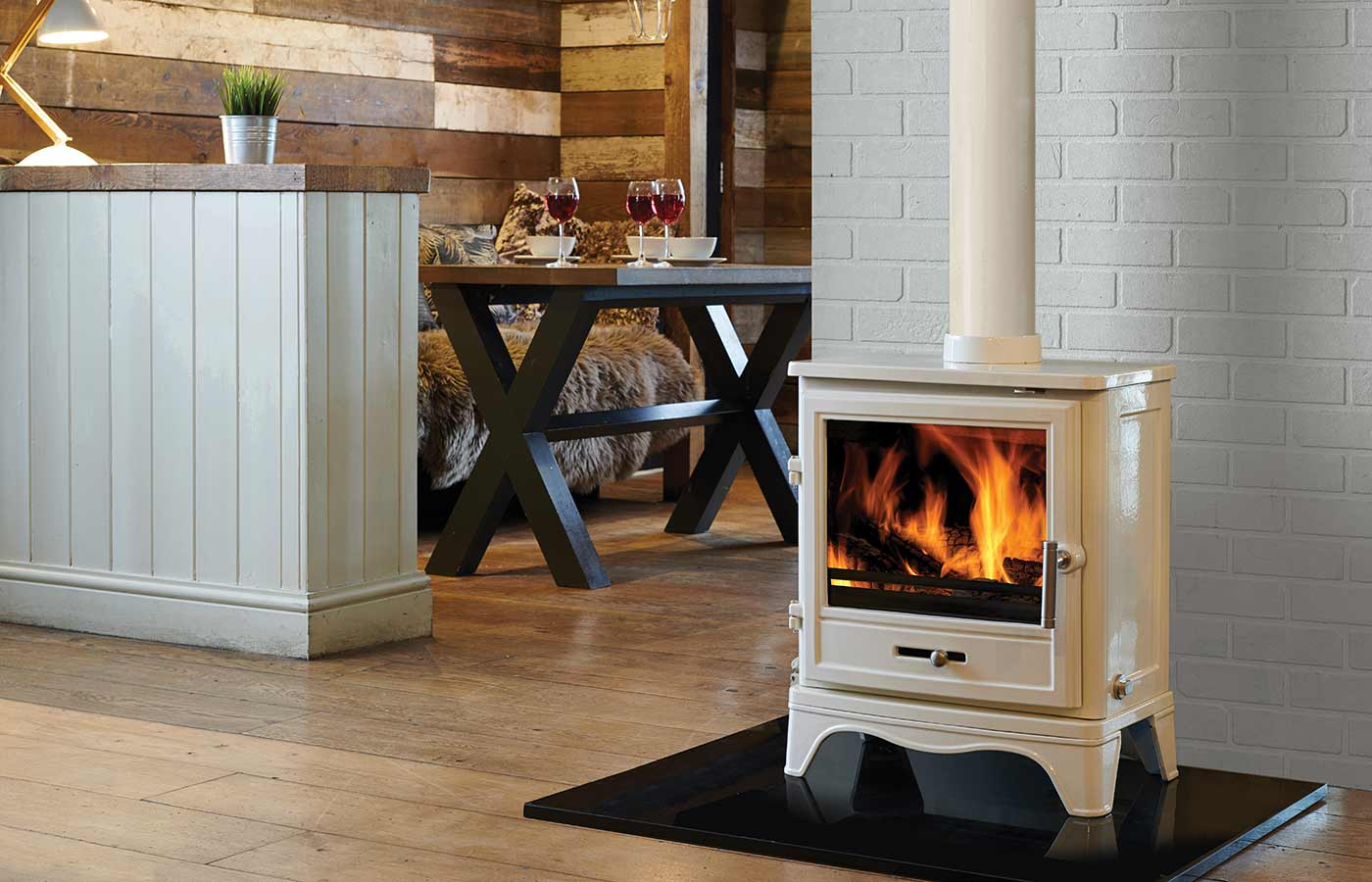 Bassington Stove in White (Skirted Legs)