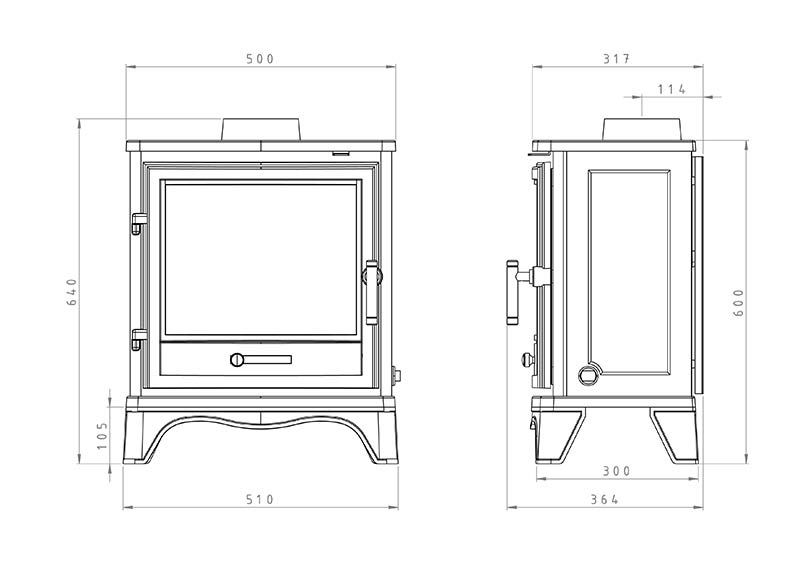Bassington Stove (Skirted Legs) Dimensions
